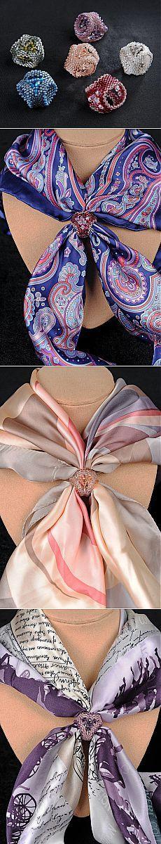 Зажимы для платка (простые) | biser.info - всё о бисере и бисерном творчестве