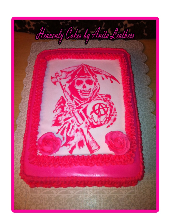 33 best cake designs bikers images on pinterest birthday cake hand painted girly sons of anarchy cake voltagebd Image collections