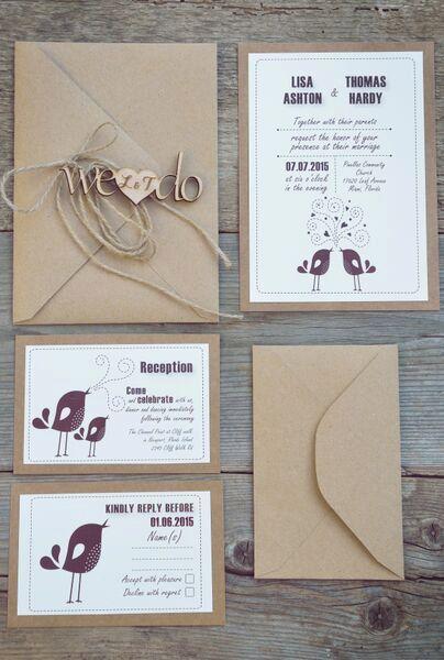 Rústico boda Kits de invitación invitación por MelindaWeddingDesign