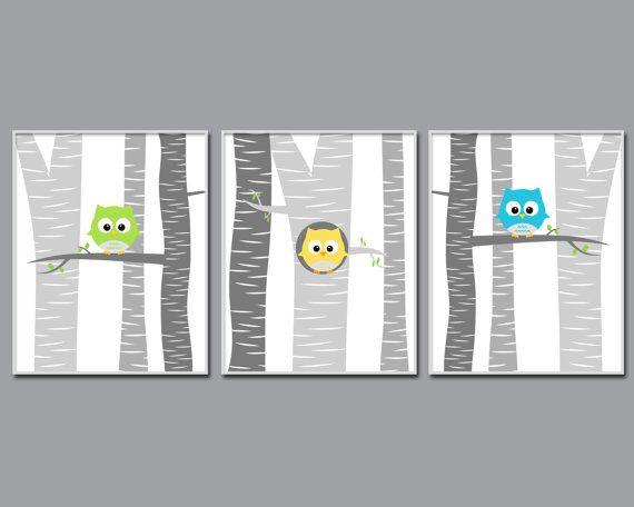 Baby Boy Owl Nursery Wall Art Print Baby Boy Owls in por HopAndPop
