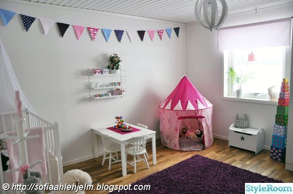 Kids room with play tent, bunting, and white walls #bunnyinthewindow