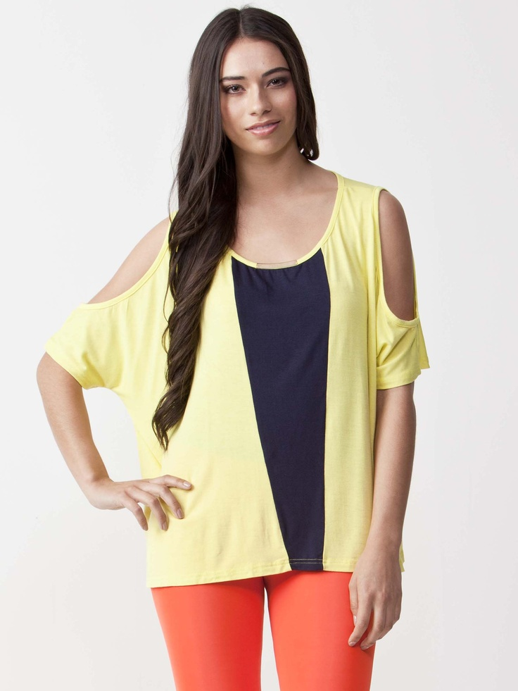 Salem - Blush Cut Out Sleeve Top with round neckline. Gold Plate neckline detail with mid length sleeves. Regular fit cut and contrast front panel. $39.60