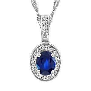 10KT White gold 0.10 ctw diamond and sapphire pendant, chain included. PEN-GEM-1947