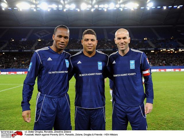 UNDP Goodwill Ambassadors Didier Drogba, Ronaldo and Zinédine Zidane at the Match Against Poverty.