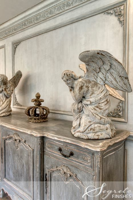 Beautiful winged angels for a French Country setting. #frenchcountry