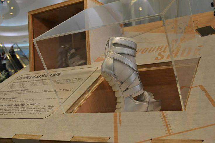 Designer Camilla Skovgaard shoe on display at the Westfield My Favourite Shoe Exhibition.