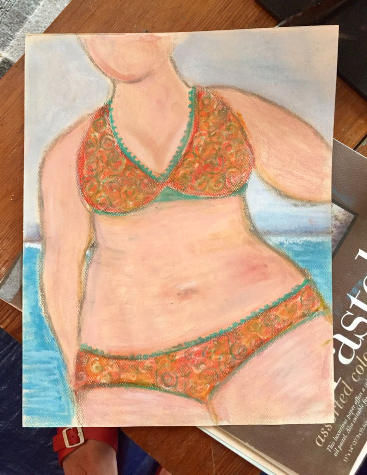 Beach Babe.   Chalk and oil pastel.
