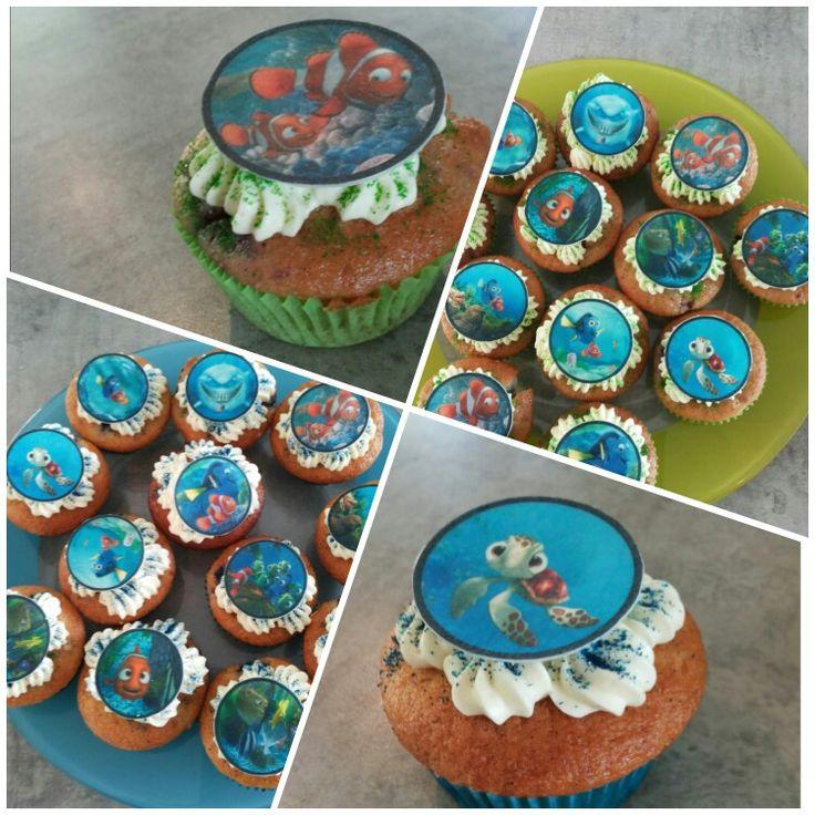Finding nemo cake voor kinderverjaardag (Bosbessen/yoghurt cake en witte chocolade/frambozencake  beide met een topping van vanille/monchou)