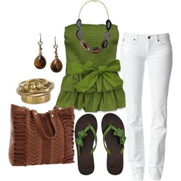 I likes the top, but they don't have it in my size in green anymore :( Summer Time!, created by alanad23 on Polyvore