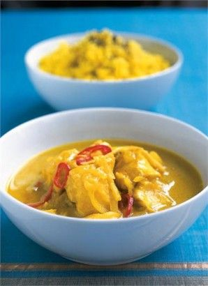 Keralan fish curry by Nigella. Use Butternut Squash for a vegetarian version. Serve with Cumin spiced Puppadoms and flat Chappatis.