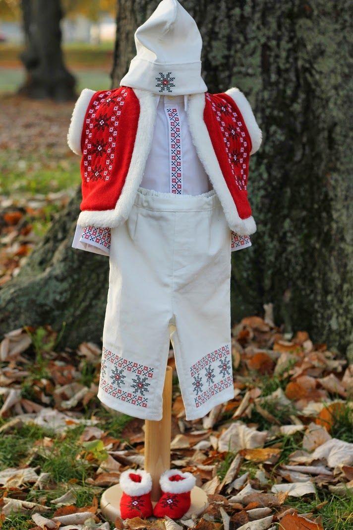 Trusou botez personalizat, trusouri botez, lumanari botez : Costumas botez traditional brodat pentru baieti