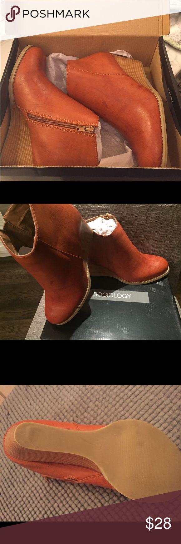 Cognac wedge booties Never worn cognac wedge bootie. Shoes Ankle Boots & Booties