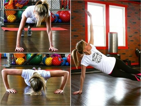 Pushups with a side plank raise work out your shoulders and abs. Lagartijas a tabla lateral