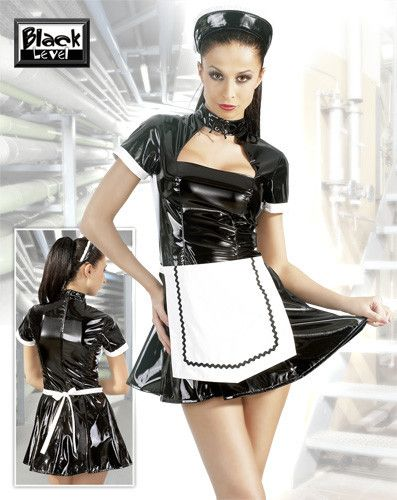 PVC Classic Maids Dress Mini dress with collar to tie and a covered zipper in the back. Small cap and apron included.