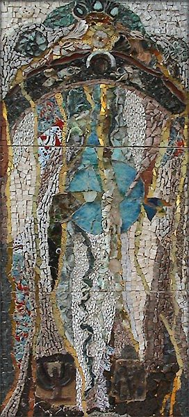 Ilana Shafir is self-taught in the medium of mosaics. She is an amazing woman and her mosaics are full of texture, color and story.