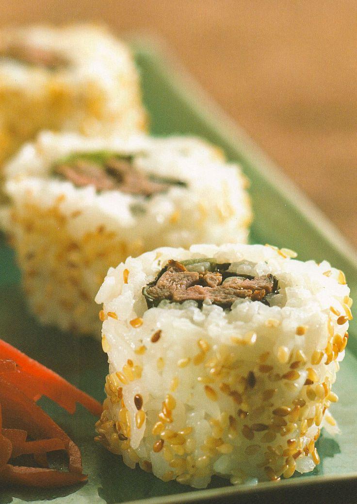 Beef Teriyaki Rolls, SUSHI - COOKED, Japanese Recipe, Japanese Food Recipe. OOoO yuuuum!!