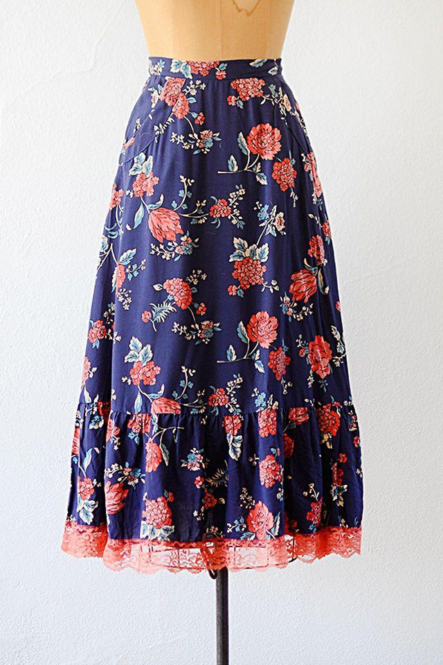 vintage 1970s blue floral coral lace skirt