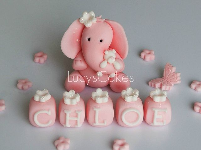 elephant birthday or christening cake topper by www.lucys-cakes.com, via Flickr