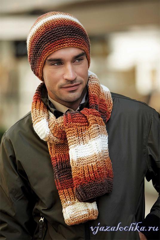 Вязание мужской шапки и шарфа спицами
