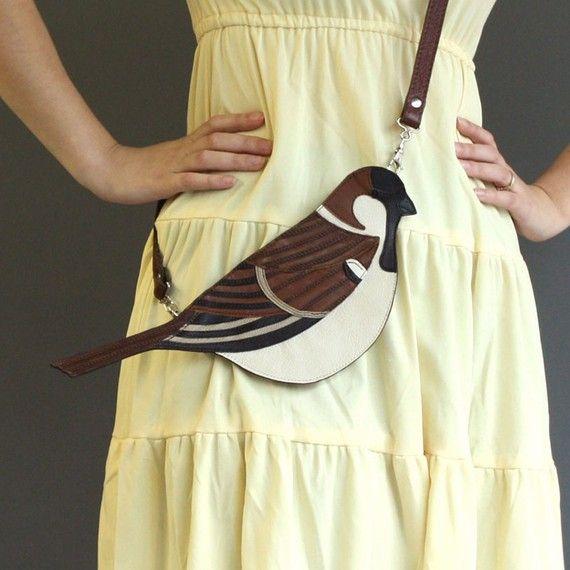 Leather Sparrow Clutch Bag