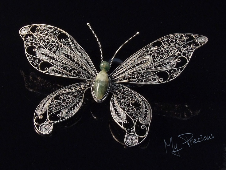 My Precious - Fine silver filigree butterfly with Moss Agate cab. and bead