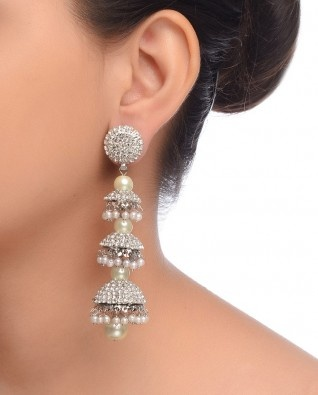 Triple Jhumki Earrings with Rhinestones