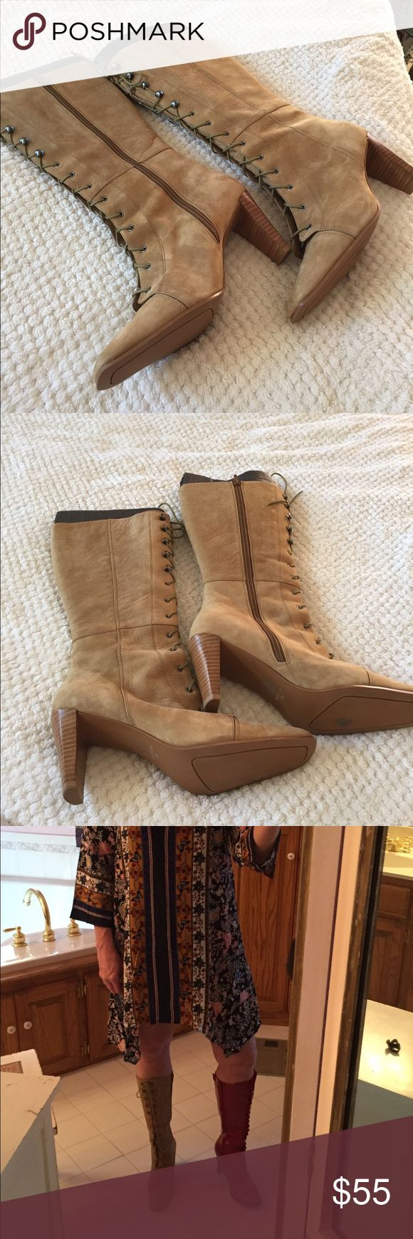 NWOT VS brown suede boots NWOT VS brown suede boots.  Tie in the front.  Zips up the side.  Dress and red boots also for sale. Moda International Shoes Heeled Boots