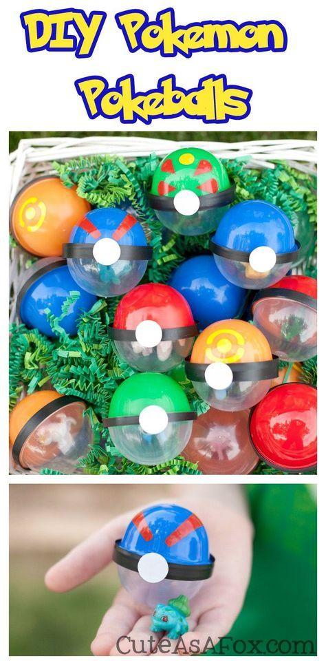 DIY Pokeballs - Make your own Pokemon Poke balls from vending machine capsules. Perfect for Pokemon Birthday Parties or a Pokemon themed Easter Egg Hunt.