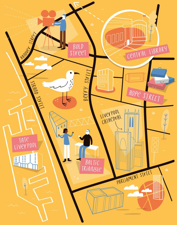 Illustrated map of Liverpool - Tom Woolley
