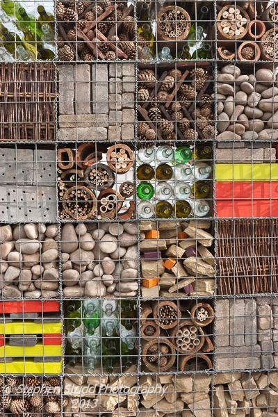Insect hotel at RHS Flower Show, Tatton Park; using gabions.