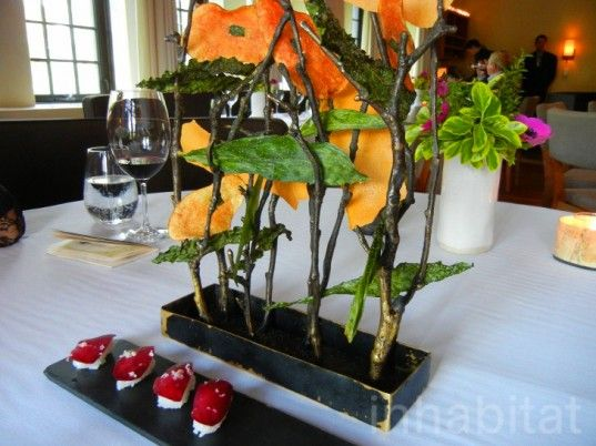 Another really breathtaking food arrangement. Veggie chips formed into a floating forest