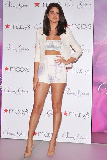 Selena Gomez in Versace - this outfit is totally underwear/pajama status.
