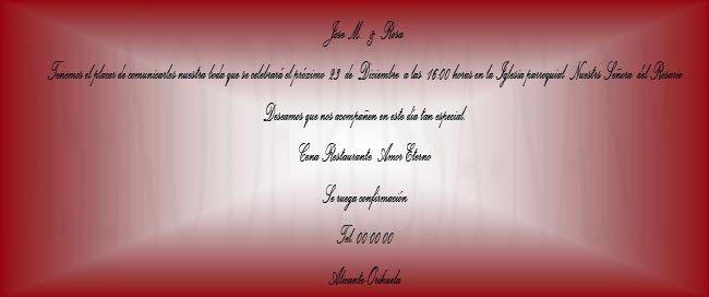 MUNDO ROSSA -TARGETAS DE BODA: tarjetas de boda -tonos rojos