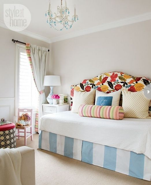 Upholstered daybed in nursery with patterned king size headboard more