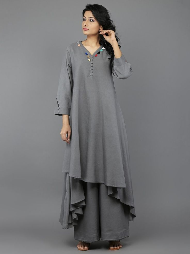 Grey Khadi Multi Patang Kurta with Palazzo - Set of 2