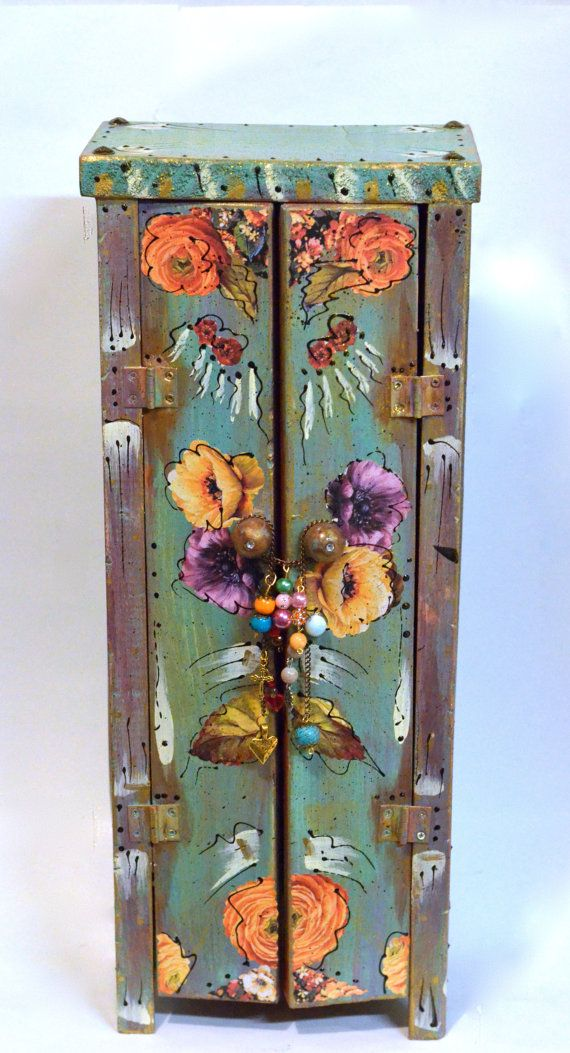Boho Handmade Wooden Standing Cabinet Mexican by OliviabyDesign