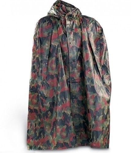 Brand New Original Swiss Army Alpenflage Camo Ponchos are not only perfect for raingear, they can come in real handy in the right emergency situation for a tarp to cover your gear or to use as a quick shelter. These ponchos are made of a durable high quality 100% waterproof rubberized urethane coated PVC material and feature a full button down easy snap front with a hood and snap side arm openings, incredible design and easy to pack. $12.95