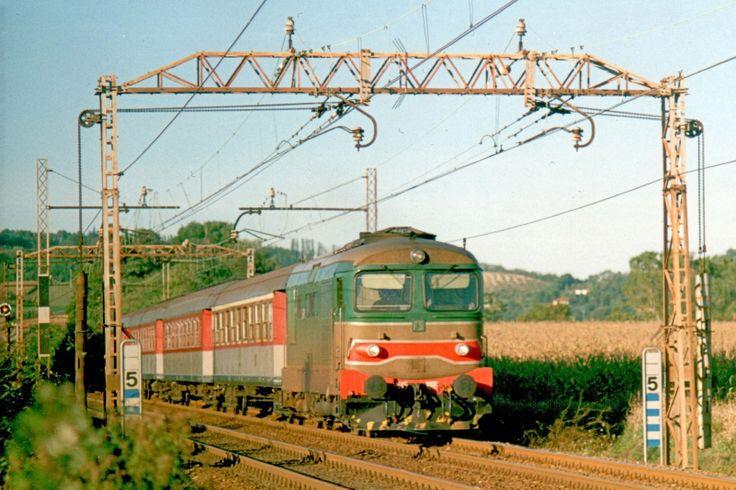 Locomotiva diesel elettrica D 345 1009 in testa ad un treno locale presso Valmadonna (AL) nel 1996 - (Foto: Riccardo Genova)
