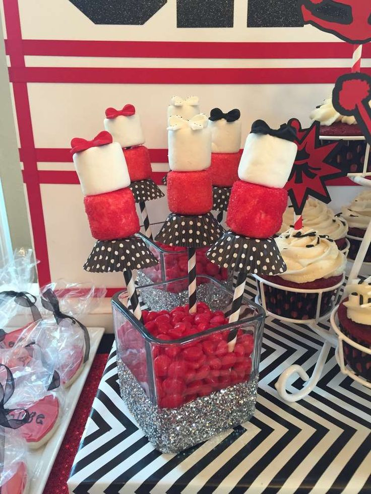 Cheerleading birthday party treats! See more party planning ideas at CatchMyParty.com!