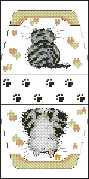Cross-stitch Cat Purse... no color chart available, just use pattern chart as your color guide.. or choose your own colors..