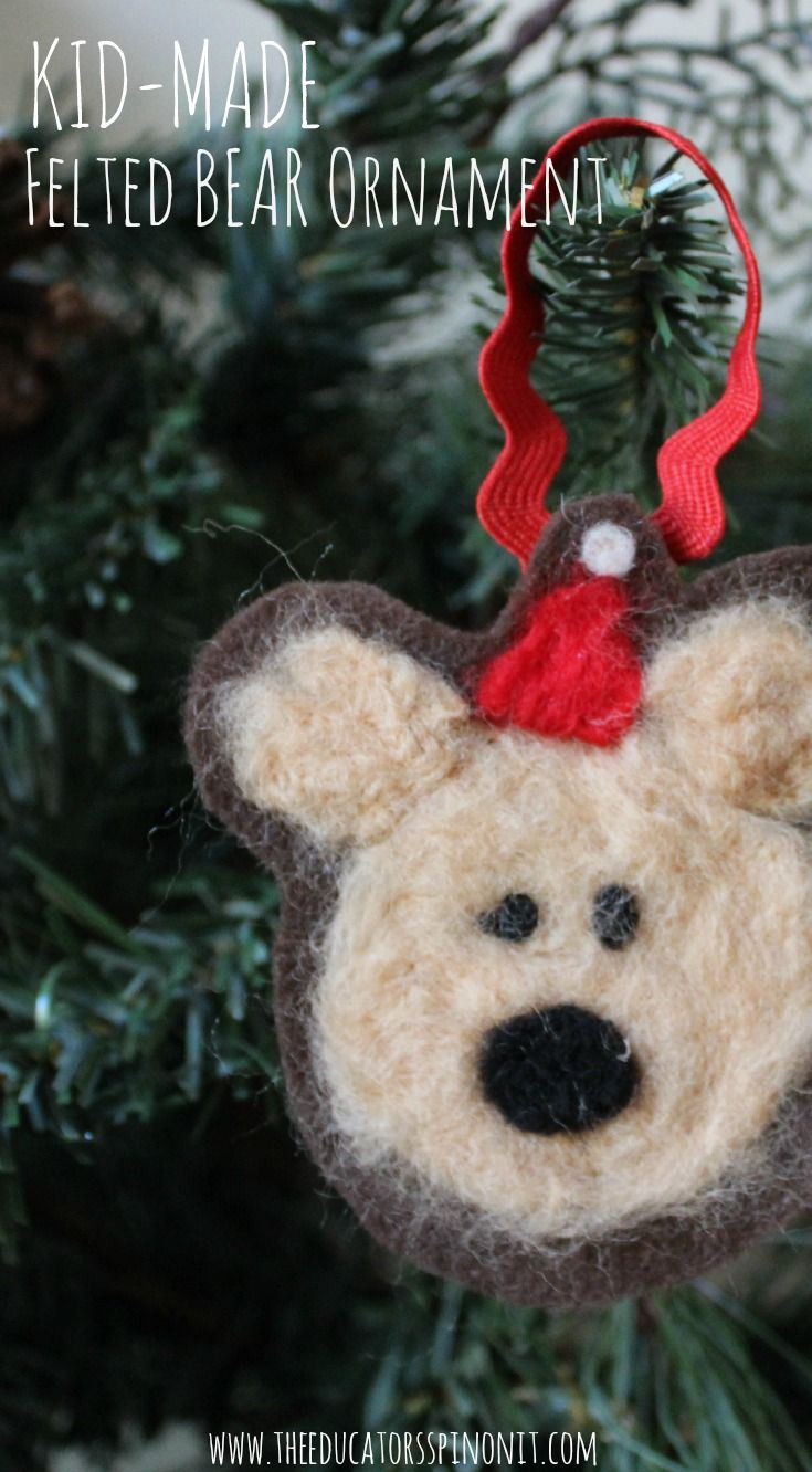 Kid-Made Felted Bear Ornament for Christmas inspired by the book Bear Stays up…