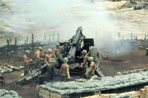 Vietnam War *(Our brothers manning that artillery piece are probably suffering hearing loss like me with my ship's  5x38 inch guns. Did you know that the VA now fits Vietnam War Vets with free hearing aids. If you are suffering hearing loss, check out the VA website.)
