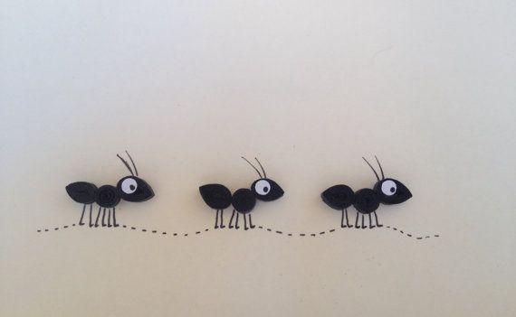 Quilled Karte, schwarzen Ameisen, Steintaube Ameisen-Karte, Grußkarte, freien Stelle