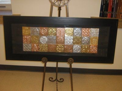 INSIDE THE ART ROOM blog: school auction mural made from two-tone foil squares.