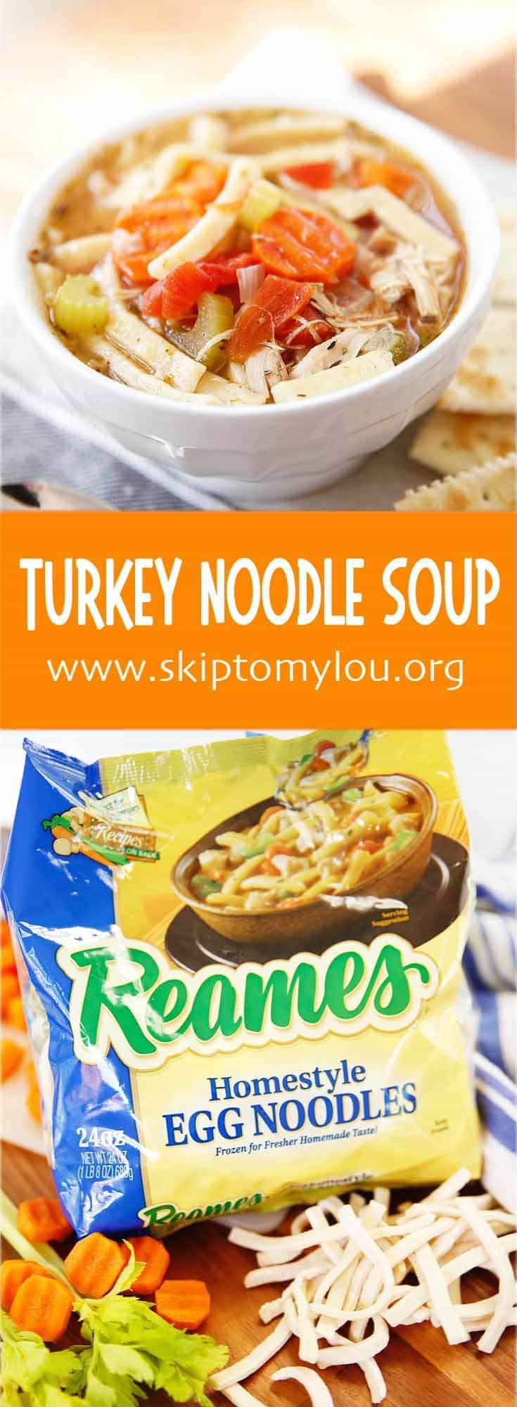 How to make turkey noodle soup. An recipe from scratch with easy store bought noodles. @WFDRecipe  Perfect for cold season and leftover turkey! #recipes #thanksgiving #soup
