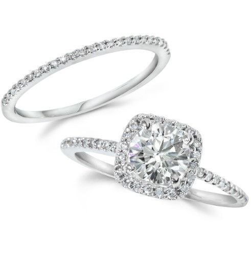 1.25CT Real Diamond Pave Halo Engagement EYE Clean Wedding Ring Set White 14k, Women's, Size: 10
