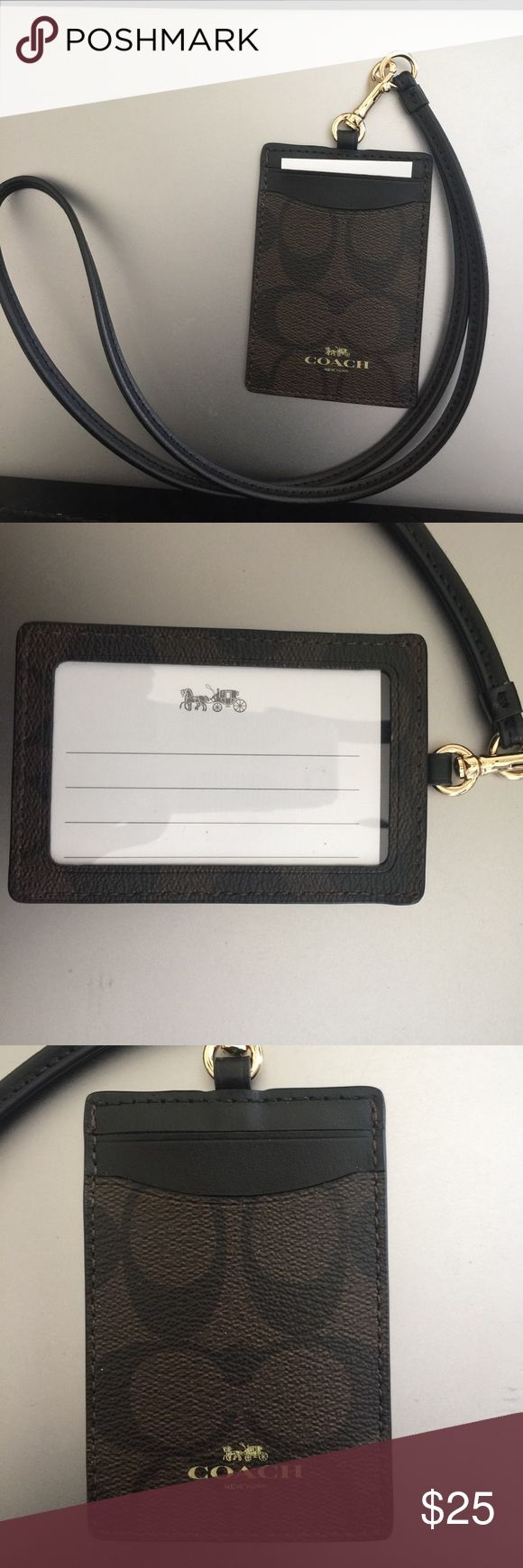 Coach Lanyard Id Holder NWOT Coach signature pvc card/id holder. Color - Brown/Black Coach Accessories Key & Card Holders