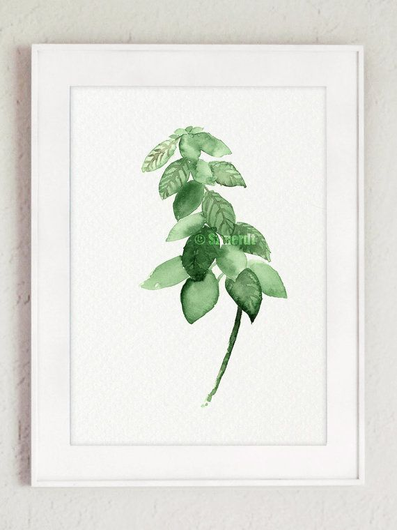 Herbs set of 3 Minimalist Painting Food Art by ColorWatercolor