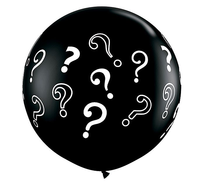 Use this 3' black balloon with question marks at a Gender Reveal Party to fill with blue or pink confetti! Pop the balloon and surprise all your guests! #burtonandburton #genderreveal