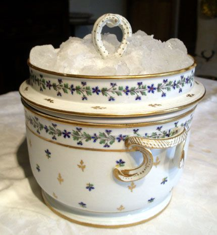 """1790 English ice cream pail, Derby. Royal Crown Derby Porcelain Company is the oldest remaining English porcelain manufacturer, based in Derby, England. Known for its high-quality bone china, has produced tableware and ornamental items since approximately 1750. Known as """"Derby Porcelain"""" until 1773, when it became Crown Derby, the """"Royal"""" added in 1890. The factory closed down under Royal Doulton ownership, but was revived under the renewed ownership of Hugh Gibson & Pearson family in 2000."""